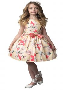 Petite Adele Little Girls Yellow Floral Sleeveless Flower Girl Dress 2T-6