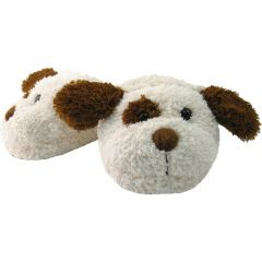 Kreative Unisex Little Kids Brown White Puppy Shaped Plush Slippers 12 Kids