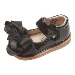 Mooshu Trainers Little Girls Black Patent Bow Squeak Mary Jane Shoes 5-9 Toddler