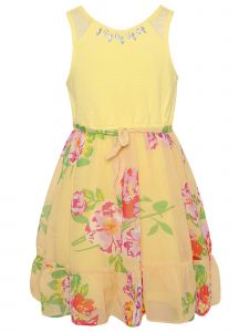 Little Girls Yellow Floral Jeweled Sleeveless Easter Dress 2T-6X