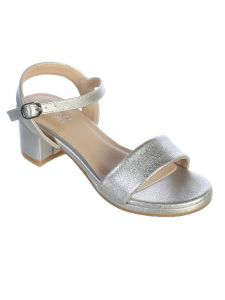 Little Girls Silver Block Heel Buckle Closure Sandals 11 Kids
