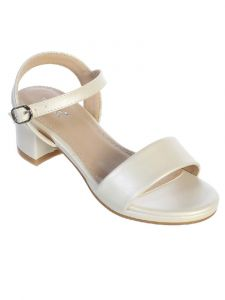 Little Girls Ivory Block Heel Buckle Closure Sandals 11 Kids