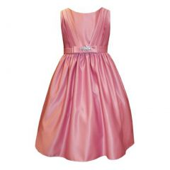 Sweet Kids Big Girls Dusty Rose Satin Rhinestone Pin Flower Girl Dress 7-12