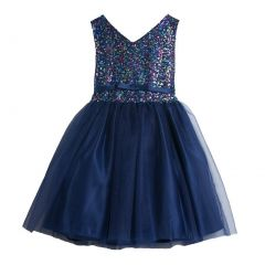 Sweet Kids Navy Sequin Tulle Special Occasion Dress Girls 4-16