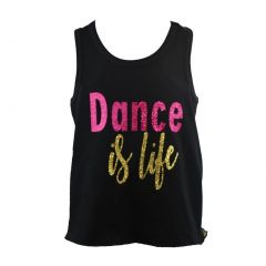 "Reflectionz Little Girls Black Pink Gold ""Dance Is Life"" Cotton Tank Top 2-6"