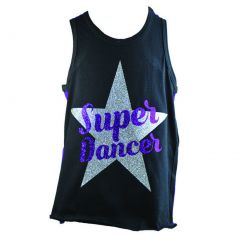 "Reflectionz Big Girls Black Purple Glitter ""Super Dancer"" Print Tank Top 8-12"