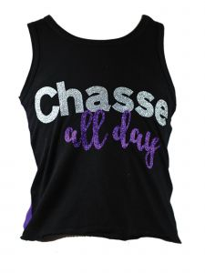 """Reflectionz Big Girls Black Silver Glitter """"Chasse All Day"""" Tank Top 8-12"""
