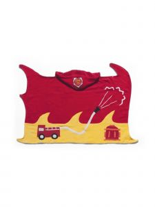 Kidorable Little Boys Red Fireman Top Button Cotton Absorbent Hooded Towel M