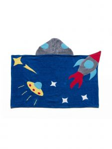 Kidorable Baby Boys Blue Space Hero Top Button Cotton Absorbent Hooded Towel S