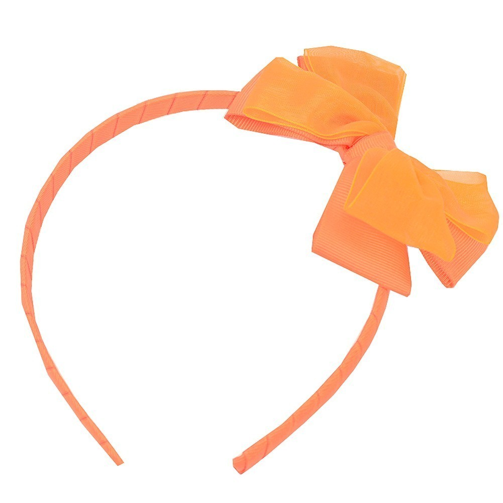 Girls Orange Bow Accented Stylish Hairband Hair Accessory One Size -  Sophia s Style 6228bb2ff08