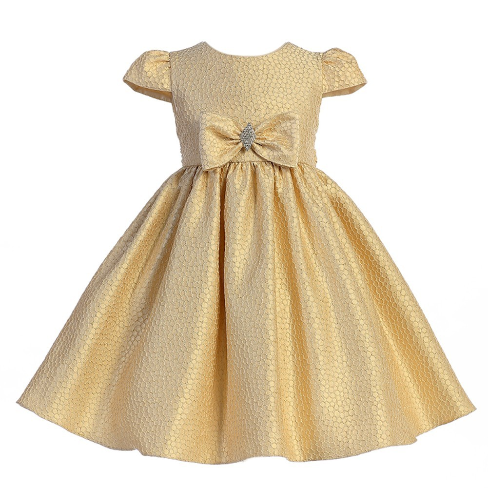0797dc66c88a Crayon Kids Girls Gold Textured Brooch Bow Accent Christmas Dress 5-10 -  Sophia's Style