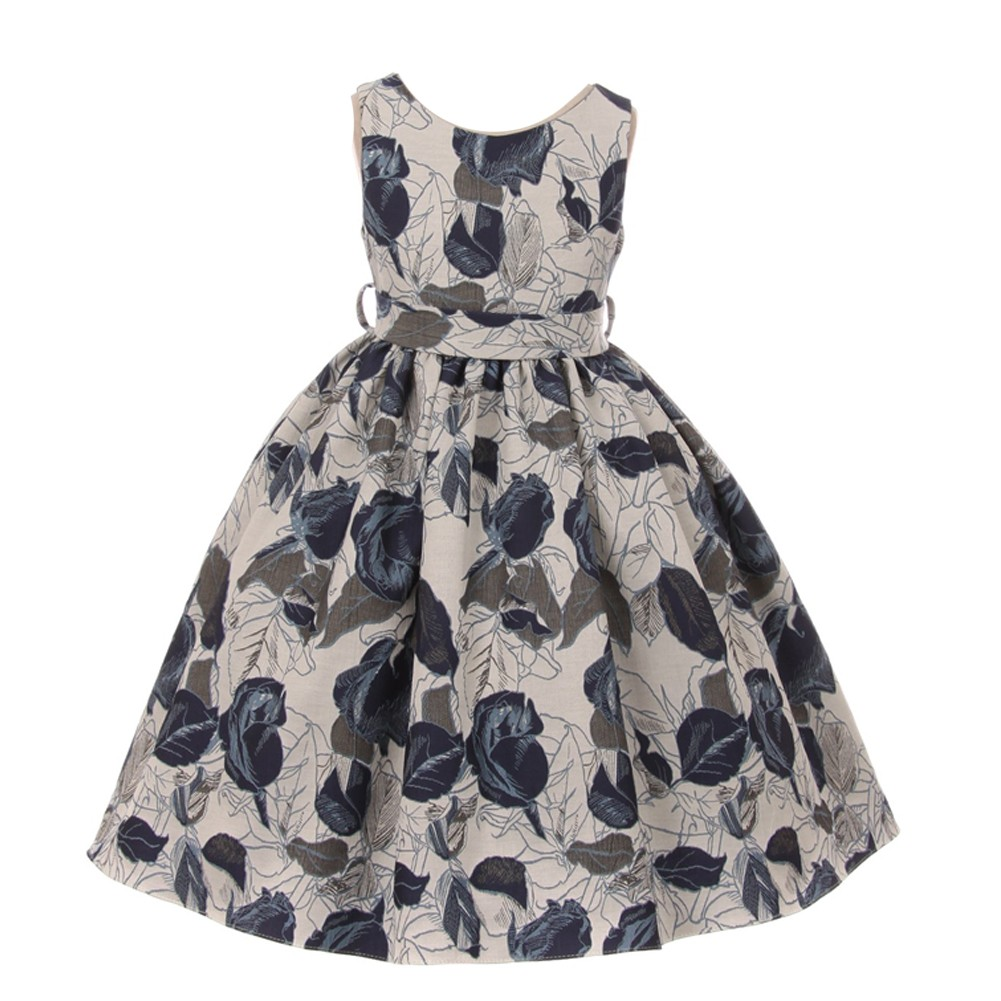 653f41d83fd Kids Dream Little Girls Midnight Blue Floral Jacquard Flower Girl Dress 2-6  - Sophia s Style