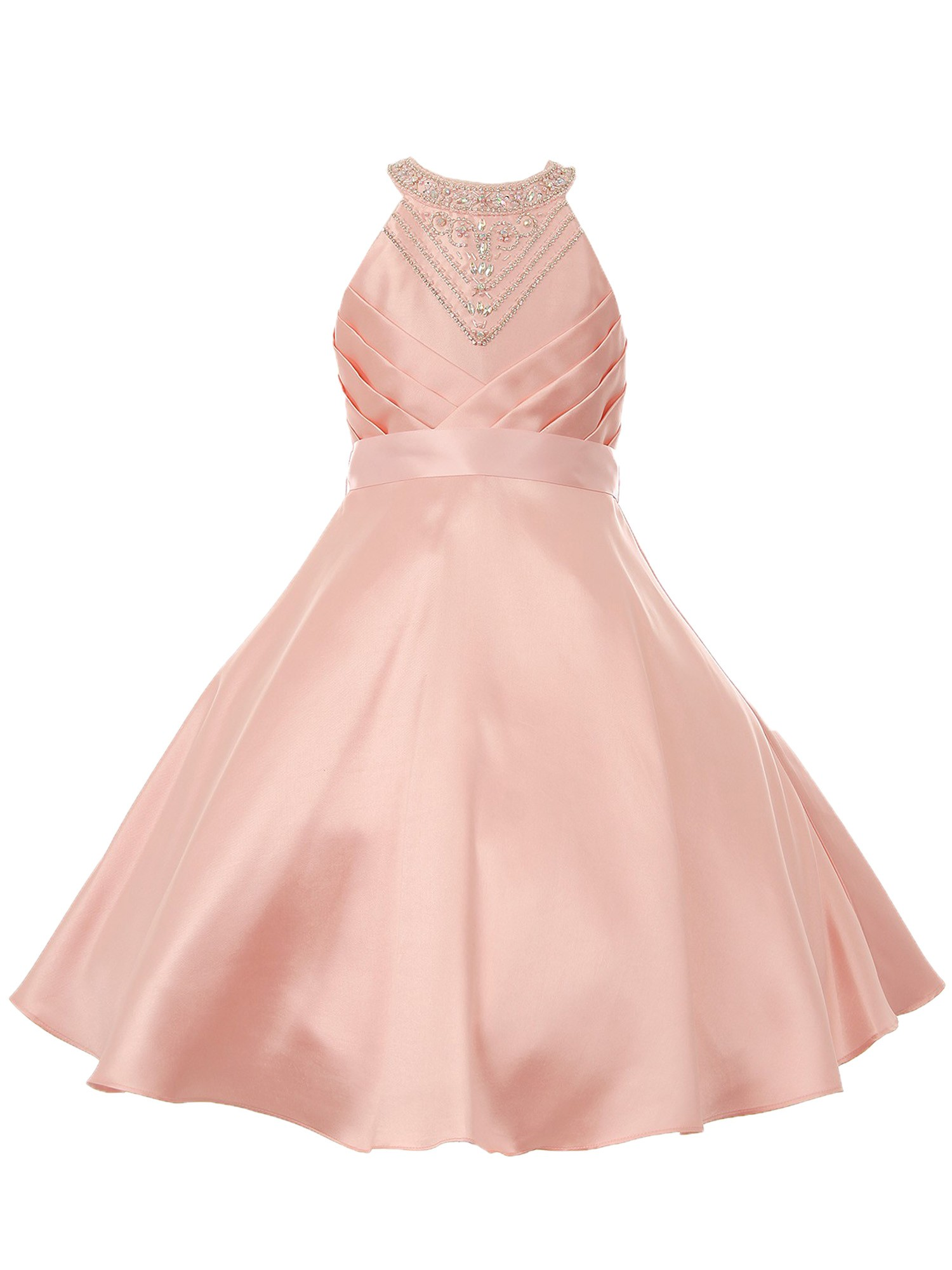 d08c3a088d0 Little Girls Blush Side Pleated Rhinestone Halter Flower Girl Dress 2 -  Sophia s Style