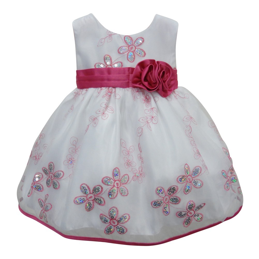 e8e38703d9 Little Girls White Fuchsia Glitter Sequin Floral Detail Flower Girl Dress  4T - Sophia's Style
