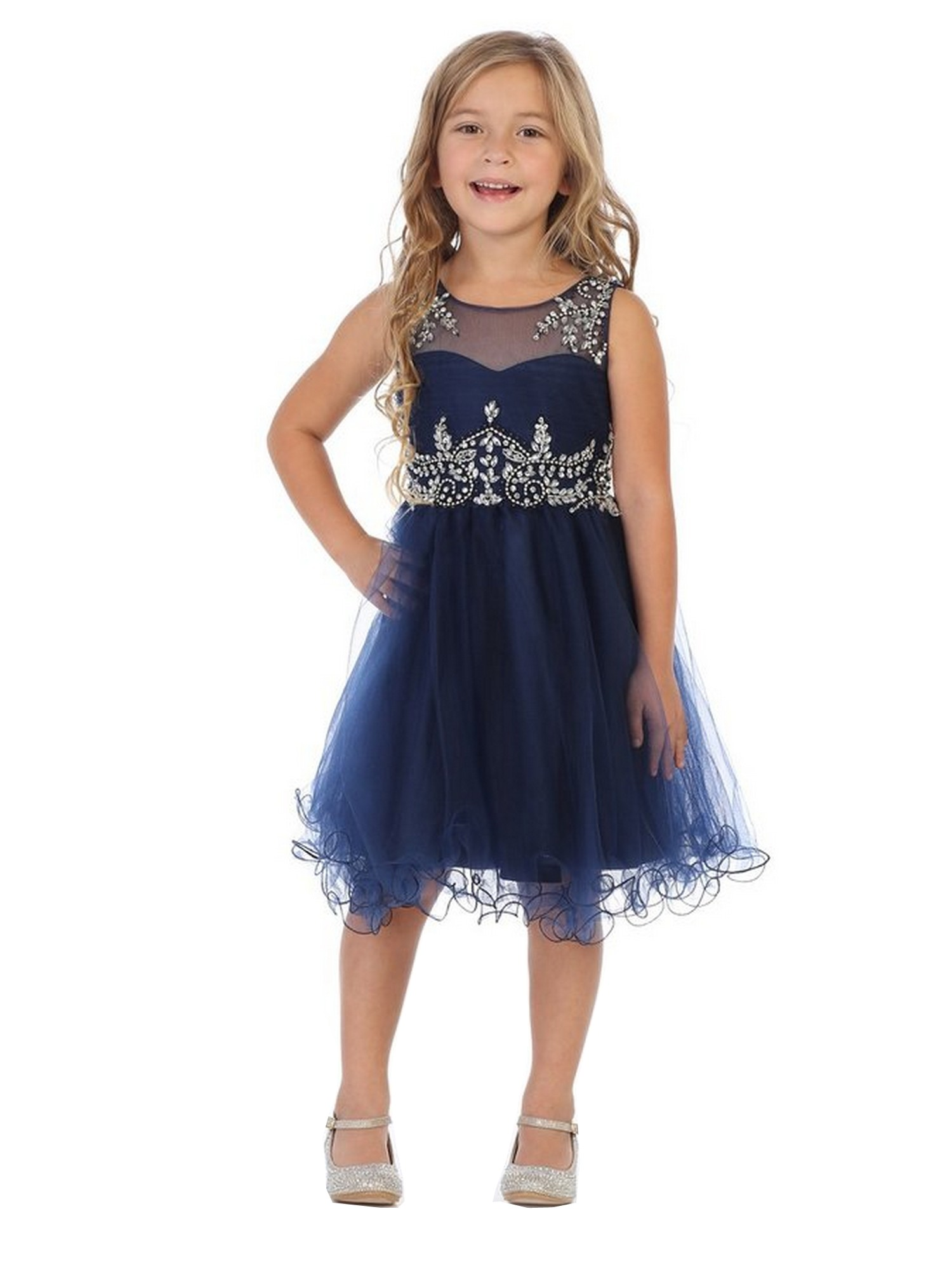 My Best Kids Big Girls Navy Stone Accented Junior Bridesmaid Dress 8-18 -  Sophia s Style 3c02916ac7
