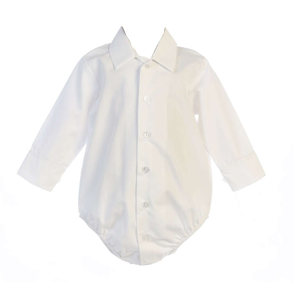 0009f2ccdb39 Lito Baby Boys White Shirt Style Long Sleeve Poly Cotton Bodysuit 0 ...