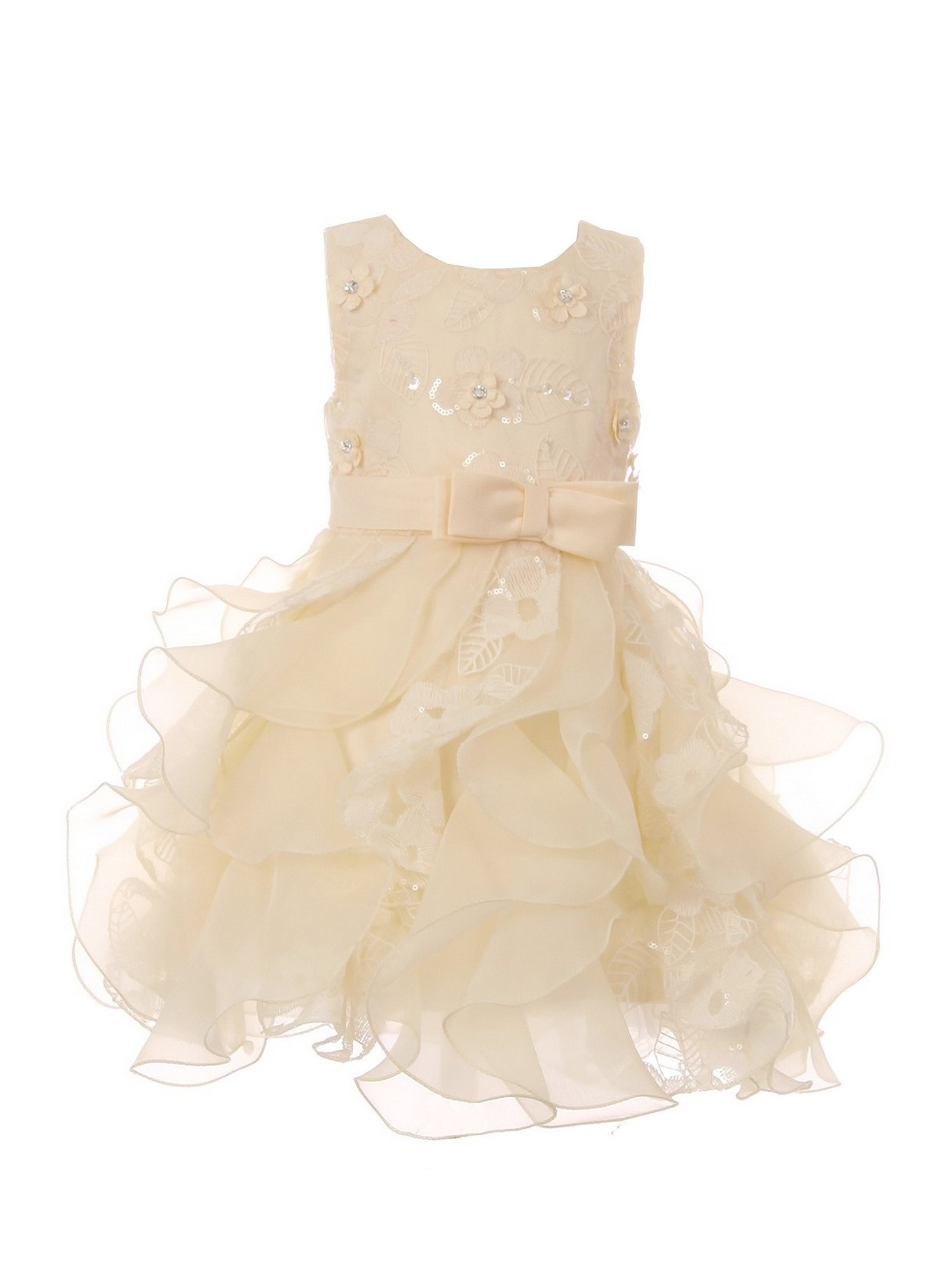 f74359c944c Baby Girls Champagne Sequin Pearl Lace Tulle Ruffle Flower Girl Dress 6-24M  - Sophia s Style