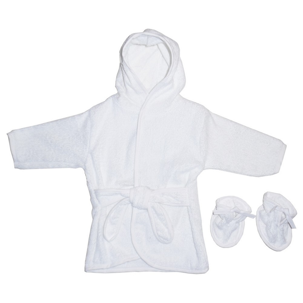 bfe11f715 Bambini Baby Unisex White Solid Color Terry Booties Hooded Bath Robe -  Sophia's Style