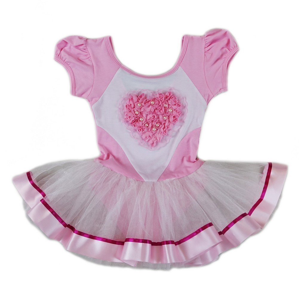 3d9736312 Wenchoice Girls Pink White Pearl Rose Heart Ballet Dress S (9-24M ...