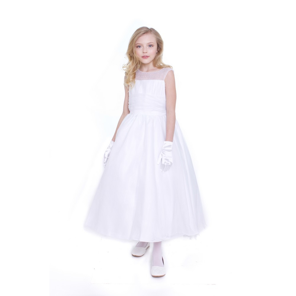 d0d24fc963 Petite Adele Big Girls White Chiffon A-line Pearls Flower Girl Dress 11-12  - Sophia s Style