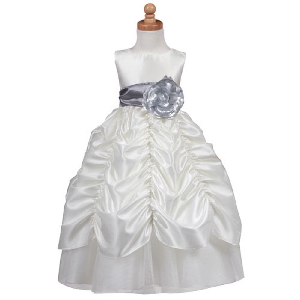 d141ccfa54625 Lito Ivory Silver Sash Christmas Dress Toddler Little Girls 2T-12 ...
