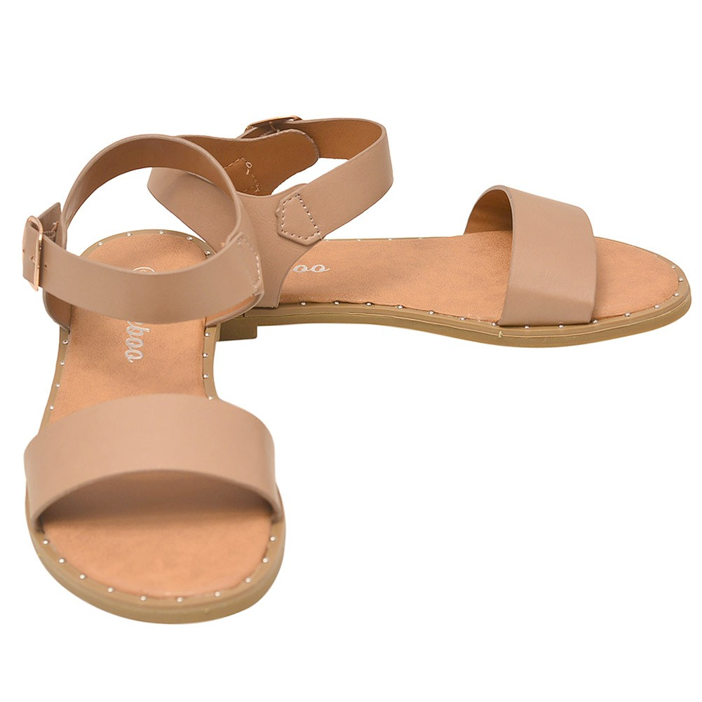 d61d21a636d942 Weeboo Adult Taupe Adjustable Buckled Ankle Strap Open Toe Sandals 6-10  Women - Sophia s Style