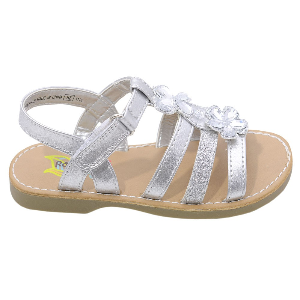 a20392e9145c Rachel Shoes Girls Silver Strappy Gemstone Embellished Sandals 11-12 Kids - Sophia s  Style