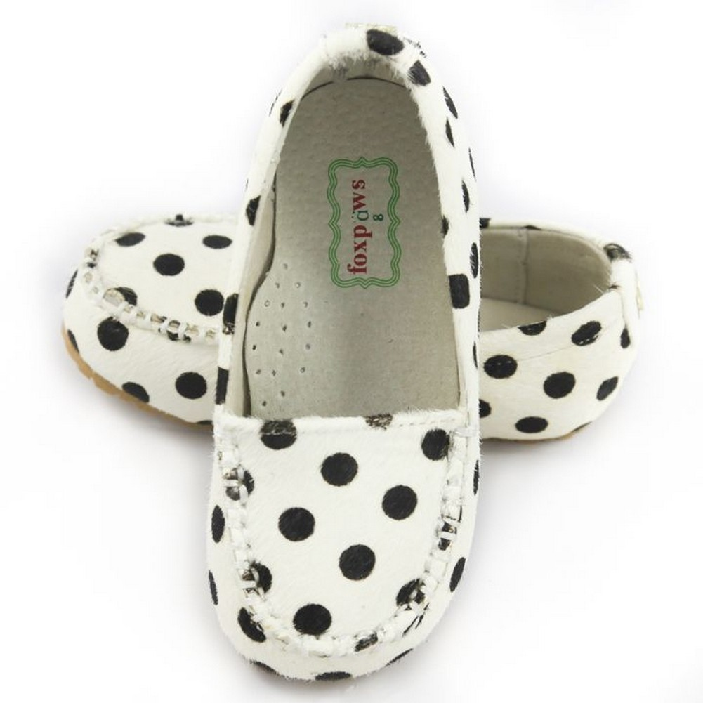 d0ce377820b0 Foxpaws Black Polka-dot Ava Leather Toddler Girl Loafers Shoe 6-10 -  Sophia's Style