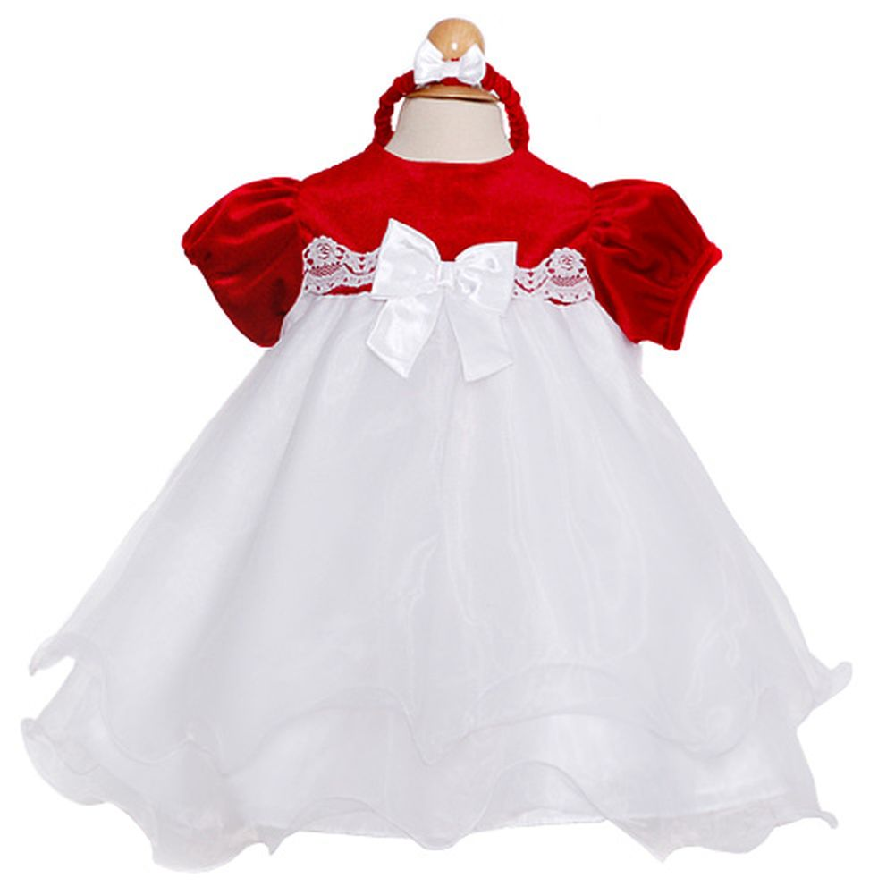 Rare Editions Red Velour Baby Doll Christmas Dress Baby Girls 3-24M ...