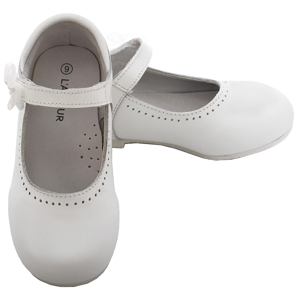 54e9ef4ff82 L Amour White Leather Flower Mary Jane Shoe Toddler Girl 6-10 - Sophia s  Style
