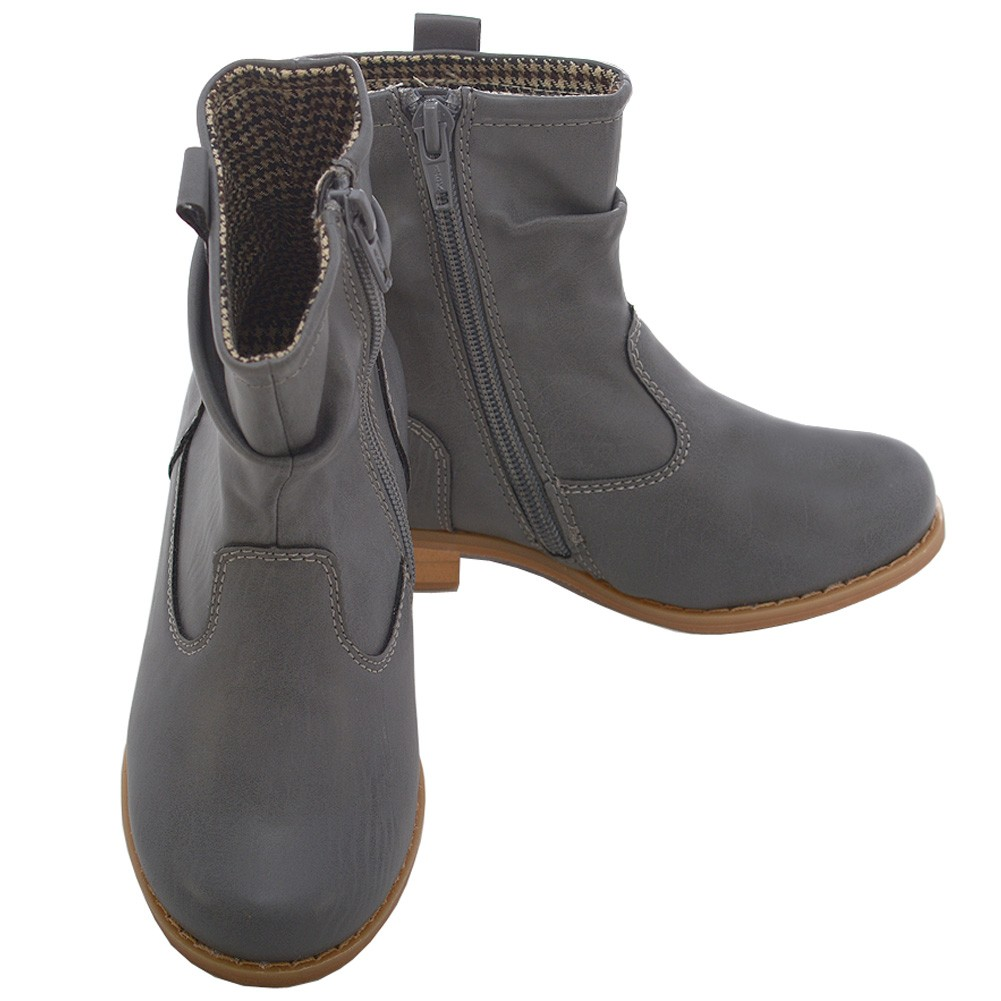 c40453b710cd L  Amour Grey Leather Mid Ankle Zip Fashion Boots Toddler Girls 7-10 -  Sophia s Style