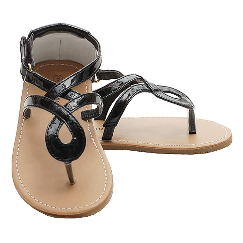 ae3fd027209 Black Patent Scroll Style Adjustable Flip Flop Sandals Little Girl 7-4 -  Sophia s Style
