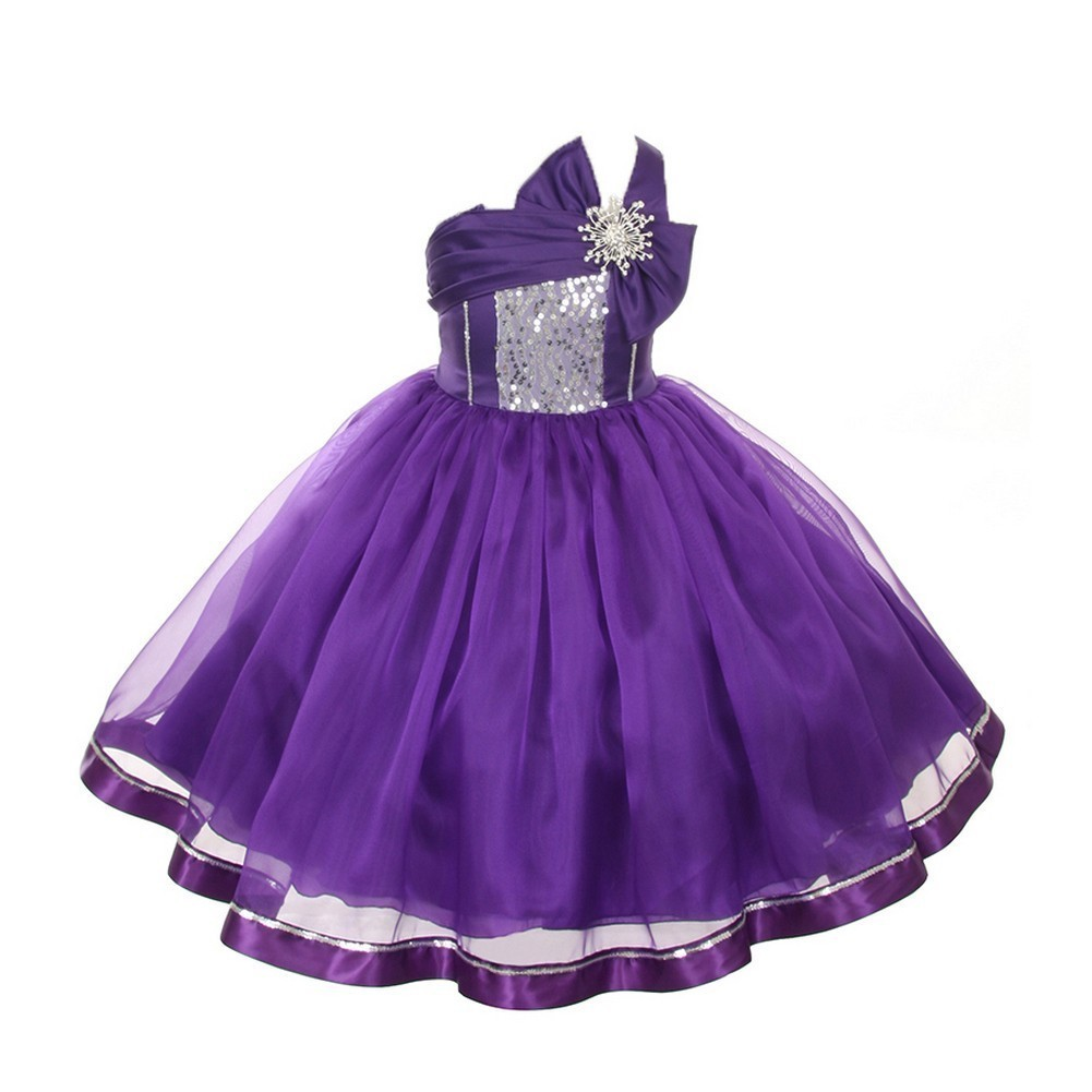 dd24b4e95 Little Girls Purple Sequin Satin Organza Special Occasion Dress 2-6 ...