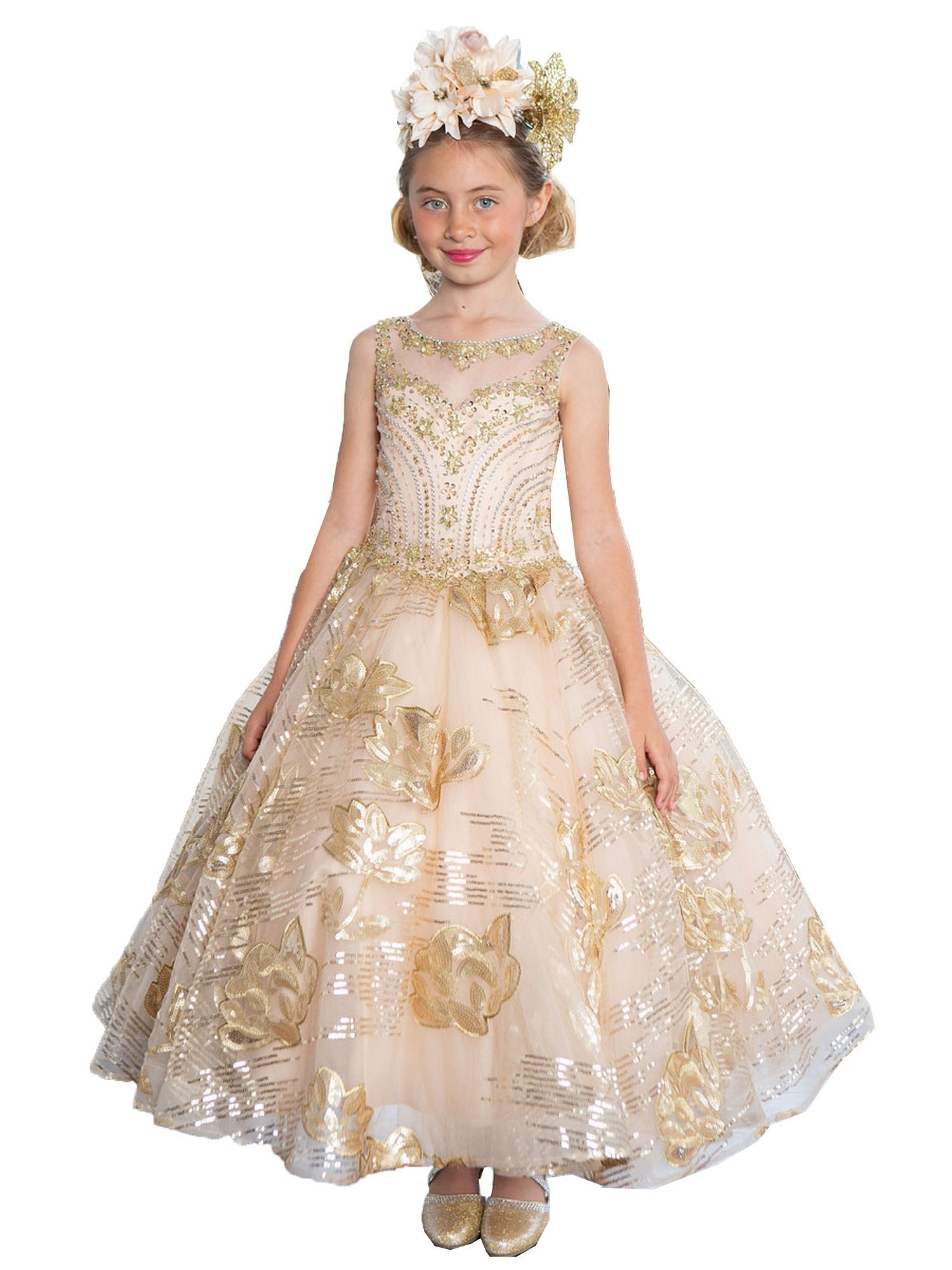 bec0c58f34 Calla Collection Little Girls Gold Sparkle Pageant Flower Girl Dress 3-6