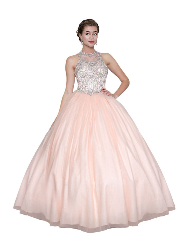 89785179b3e5 Calla Collection Womens Blush Pink Open Back Quinceanera Ball Dress 2-16 - Sophia's  Style