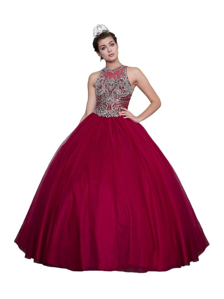 116b98a4c58 Calla Collection Womens Wine Embroidered Open Back Quinceanera Ball Dress 2- 16 - Sophia s Style