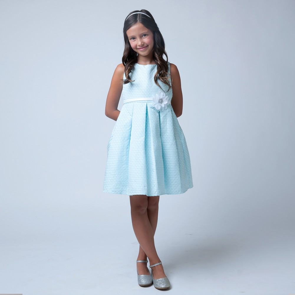 63bc64f3390 Sweet Kids Big Girls Sky Blue Flower Special Occasion Easter Dress 7-12 -  Sophia s Style