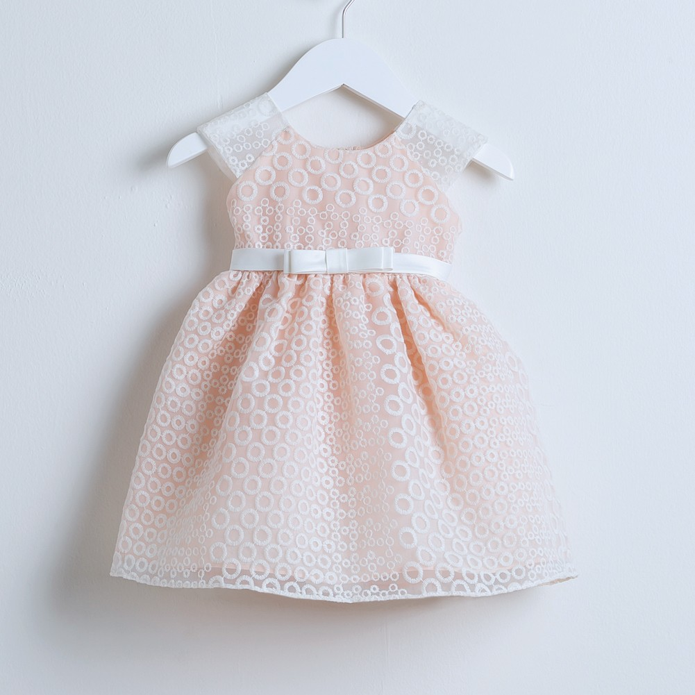 1104b244dff60 Sweet Kids Baby Girls Peach Embroidered Organza Easter Occasion Dress 24M