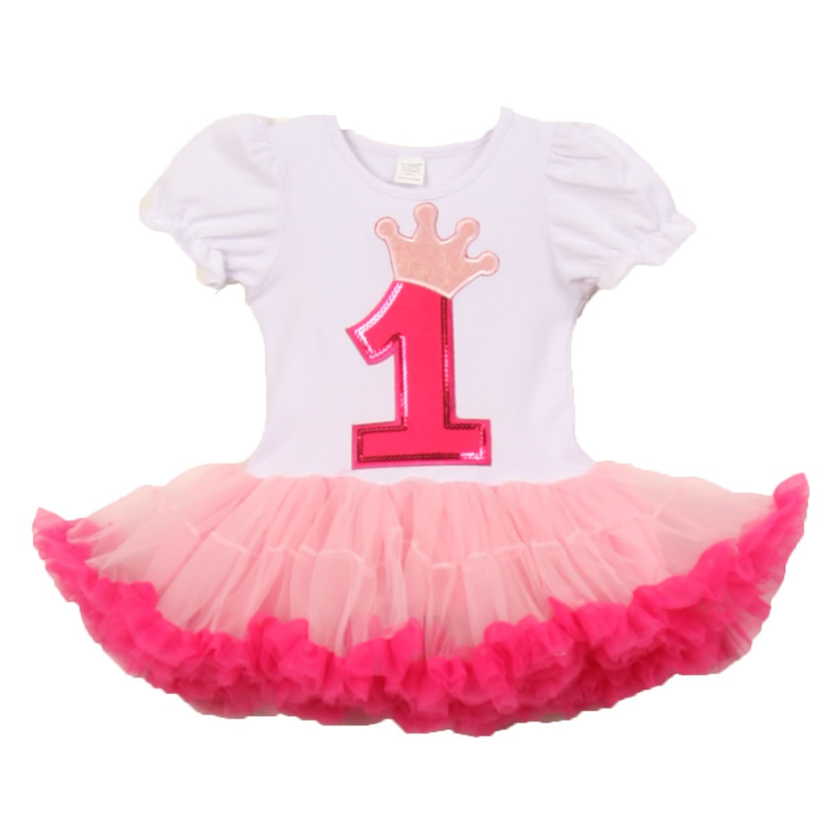 Baby Girls White Pink Number Crown Applique Birthday Tutu Dress 1 2 Years