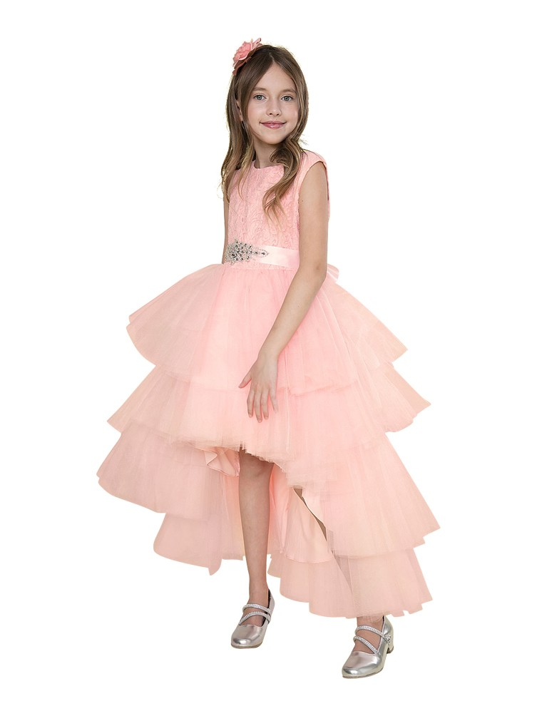 6ad316a3be66 Little Girls Blush Pink Lace Jeweled Waist Hi-Low Flower Girl Dress 2-6 -  Sophia's Style