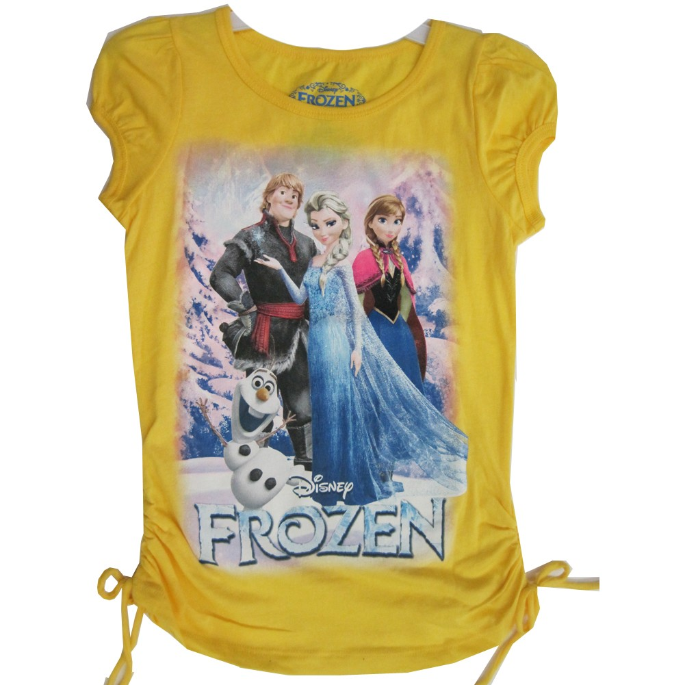 Disney Little Girls Yellow Frozen Characters Graphic Print T Shirt 4
