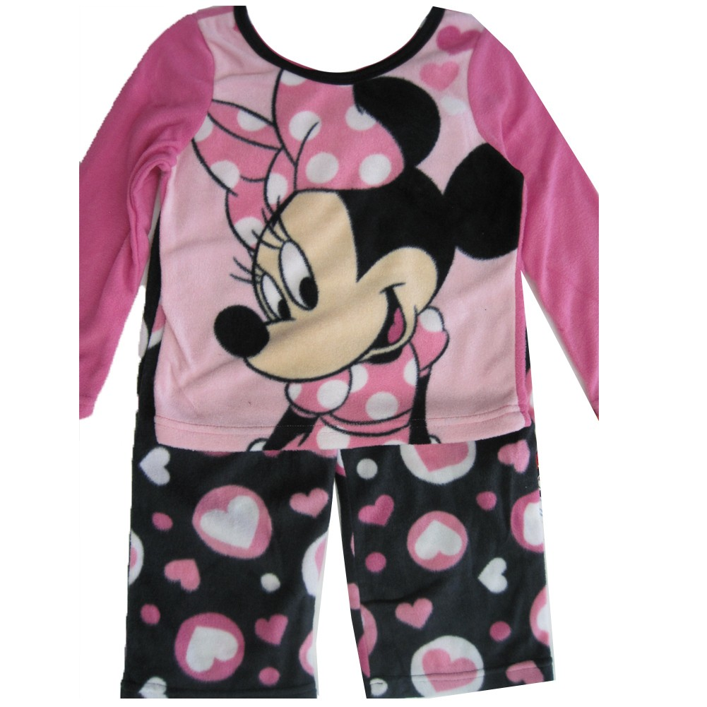 aaa8649c6a6c Disney Big Girls Pink Black Minnie Mouse Heart 2 Pc Pajama Set 8-10 ...