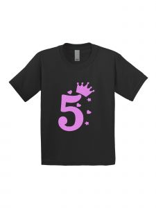 Little Girls Black Pink Glitter Birthday Number Five Short Sleeve T-Shirt 5T-6X