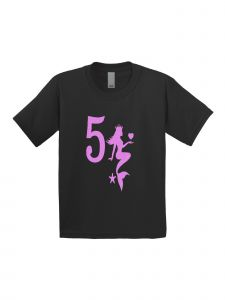 Little Girls Black Pink Birthday Number Five Mermaid Short Sleeve T-Shirt 5T-6X
