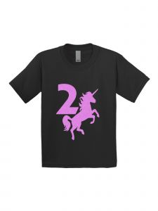 Little Girls Black Pink Birthday Number Two Unicorn Short Sleeve T-Shirt 2-3T