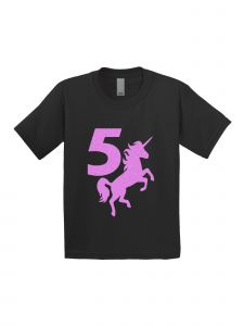 Little Girls Black Pink Birthday Number Five Unicorn Short Sleeve T-Shirt 5T-6X