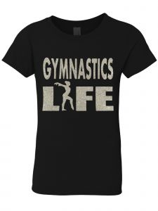 3 Pearls Designs Little Girls Black Silver Glitter GYMNASTICS LIFE Tee 3-6X