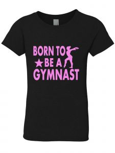 3 Pearls Designs Big Girls Black Neon Pink BORN TO BE A GYMNAST Tee 8-16