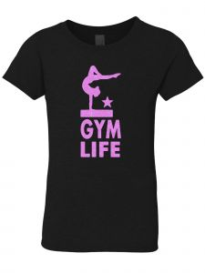 3 Pearls Designs Little Girls Black Neon Pink Glitter GYM LIFE Tee 3-6X