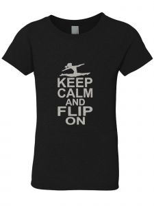 3 Pearls Designs Big Girls Black Silver Glitter KEEP CALM AND FLIP ON Tee 8-16